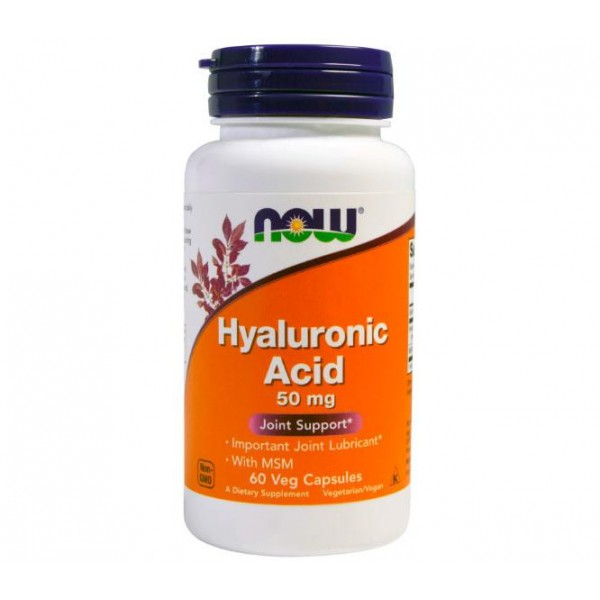 Now Foods Hyaluronic Acid 50 mg + MSM 60 капсул